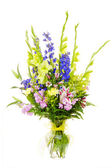 Large colorful flower arrangement with gladiolus, lilly, carnation, rose, delphinium isolated on white — Stock Photo