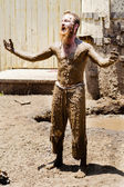 Performer covered in mud at Georgia Renaissance Festival — Stock Photo
