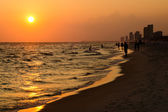 Shoreline of Panama City Beach at sunset — Stock Photo