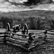 Monochrome of scene at Kennesaw Mountain National Battlefield Park - Stock Photo