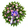 Colorful flower arrangement wreath for funerals isolated on white — Stock Photo #9677552
