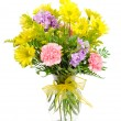 Colorful flower bouquet arrangement in vase isolated on white. — Stock Photo
