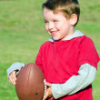 Stock Photo: Young boy playing with football