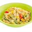 Cheesy bacon, lettuce and tomato pasta salad isolated on white — Stock Photo