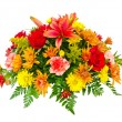 Colorful flower bouquet arrangement centerpiece isolated on white — Stock Photo #9677658