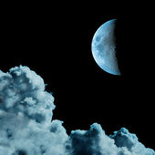Cyanotype monotone image of moon and clouds — Stock Photo