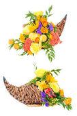 Thanksgiving flower arrangement in cornucopia basket isolated on white — Stock Photo