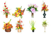 Collection of various colorful flower arrangements centerpieces as bouquets in vases and baskets — Stock Photo