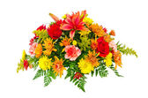 Colorful flower bouquet arrangement centerpiece isolated on white — Stock Photo