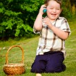 Boy on easter egg hunt — Stock Photo #9876848