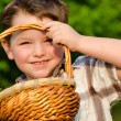 Boy looking through easter basket — Stock Photo #9876849