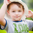 Boy in hardhat — Stock Photo
