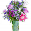 Colorful flower bouquet in vase isolated on white. — Stock Photo #9906941
