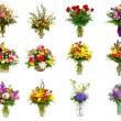 Collection of various colorful flower arrangements as bouquets in vases and baskets — Stock Photo