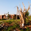 Stock Photo: Tornado-damaged land and home in northern Alabamone month after storm.