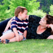 Spring portrait of mother and son on Mother's Day. — Stock Photo