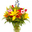 Colorful flower arrangement isolated on white. — Stock Photo #9937313
