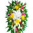 Colorful flower arrangement wreath for funerals isolated on white — Stock Photo #9937330