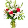 Colorful flower arrangement isolated on white. - Stock Photo