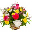 Colorful flower arrangement isolated on white. — Stock Photo