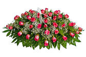 Colorful casket cover flower arrangement — Stock Photo