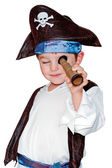 Child in pirate costume for halloween isolated on white — Stock Photo