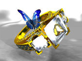 Gold and diamond ring with a butterfly — Stock Photo