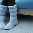 Stock Photo: Blue felt boots on floor
