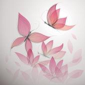 Mariposa rosa como flor — Vector de stock