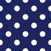 Vector seamless pattern with huge polka dots on retro navy blue background — Stock Vector