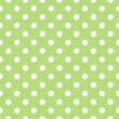 Retro seamless vector pattern with polka dots on fresh green background — Stock Vector