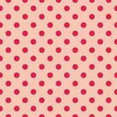 Red dots, baby pink background retro seamless vector pattern — Stock Vector