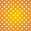 Polka dots on gradient sunny background retro seamless vector pattern — Stockvektor