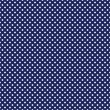 Vector seamless pattern with white polka dots on retro navy blue background — Vector de stock