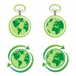 Vector  isolated ecology icons with planet earth — Stock Vector