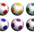 Colorful soccer balls isolated on white background — Stock Photo