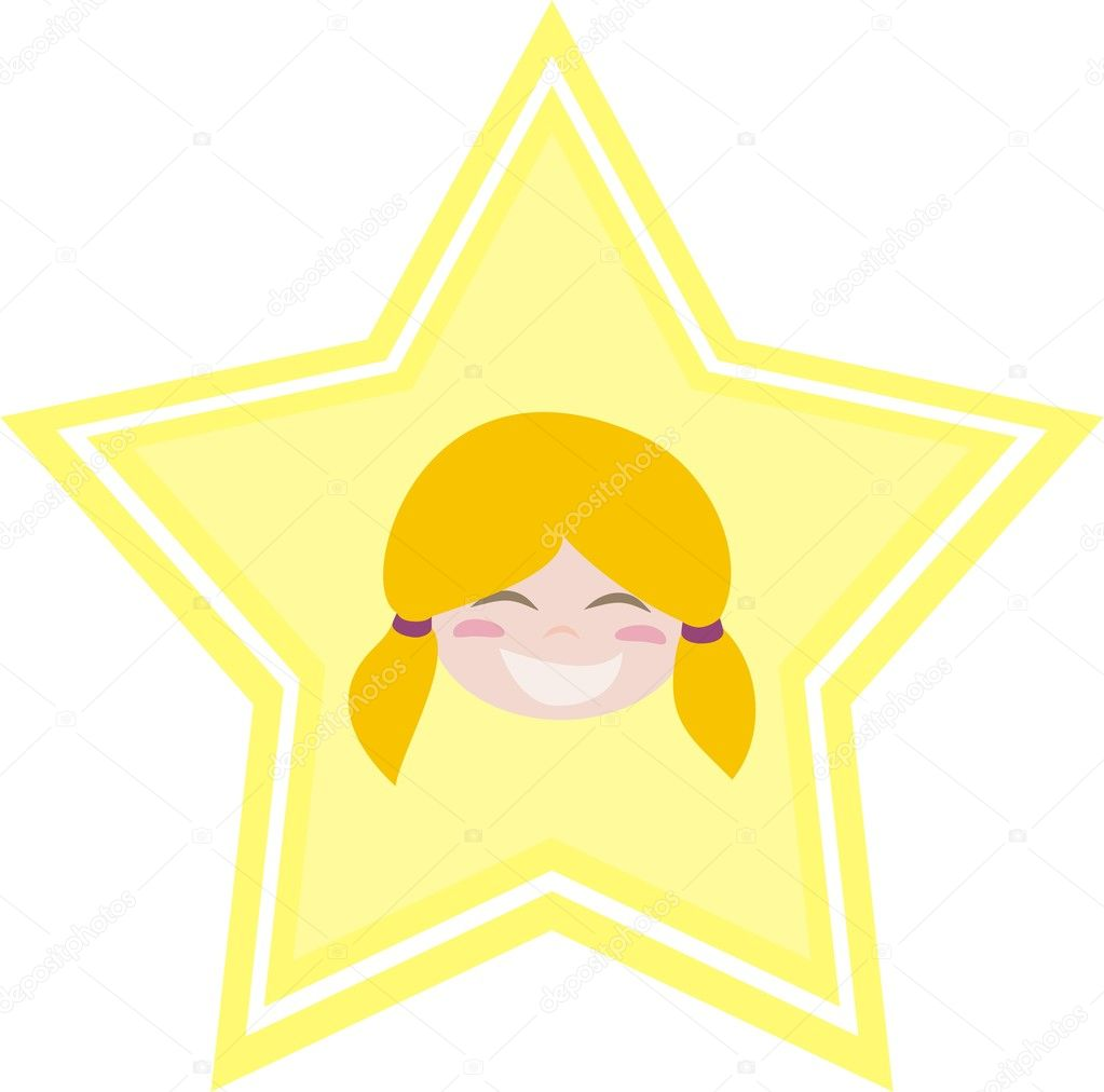Happy little blond girl is the best! Shining like a star. Vector illustration isolated on white background — Stock Vector #8375040