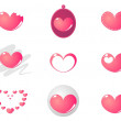 9 cute pink hearts vector set — Stock Vector