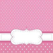 Sweet, baby pink polka dots vector card or invitation — Stock Vector