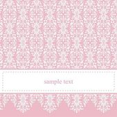 Sweet, elegant baby pink lace vector card or invitation — Stock Vector