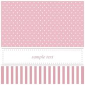 Pink vector card or baby shower invitation with polka dots — Stock Vector