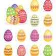 Vector composition of traditional colorful easter eggs icons — Stock Vector