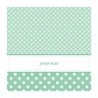 Sweet mint green polka dots card invitation - birthday, baby shower — Stock Vector