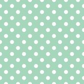 Polka dots on mint green background retro seamless vector pattern — Stock Vector