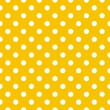 Polka dots on yellow background retro seamless vector pattern — Stock Vector #9943409