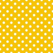 Polka dots on yellow background retro seamless vector pattern — Stock Vector