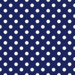 Wektor stockowy : Vector seamless pattern with polka dots on retro navy blue background