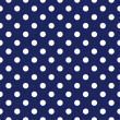 Vector seamless pattern with polka dots on retro navy blue background — Vector de stock