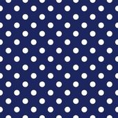 Vector seamless pattern with polka dots on retro navy blue background — Stockvector