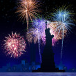 fuochi d'artificio su new york city — Foto Stock